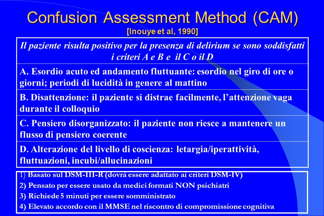 Confusion Assessment Method (CAM) [Inouye et al, 1990]
